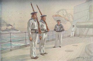 Rekruten Exerzieren mit Handwaffen an Deck eines Panzerschiffes by S Stower.