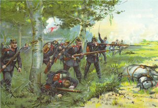 Die Hessen am Bois de la Cusse. (Schlacht bei Saint Privat) 18th August 1870 by Richard Knotel