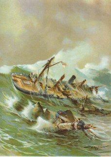 Untergang der Kanonenbootes 'Jtis' an der chinesischen Kuste.