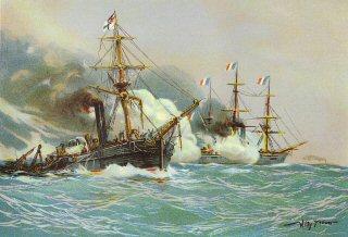 Kampf zwischen Kanonenboot Meteor' und Aviso 'Bouvet' vor Havanna, 9th November 1870.