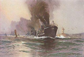 Hochsee Torpedobootsdivision den Kieler Hafen verlassend.