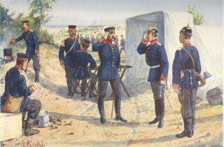 Bor dem Offizierszelt im Biwat by R Knotel