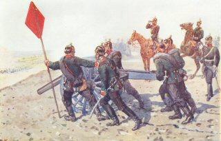 Fel Artillerie auf angreifende Kavallerie feuernd by R Knotel