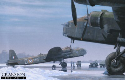 KW11. Stirlings Ready by Keith Woodcock. <p>No.7 Squadron.<b><p> Open edition print. <p> Image size 14.5 inches x 9.5 inches (37cm x 24cm)