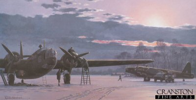 KW0012B. Wellingtons by Keith Woodcock. <p> On a snow covered airfield in winter, ground crew prepare a Wellington for its next mission while a 2nd Wellington is being refueled. <b><p>Signed by Sqd Ldr Larry Lewis DFC DFM (deceased). <p> Lewis signature edition of 80 prints. <p>Image size 14.5 inches x 9.5 inches (37cm x 24cm)
