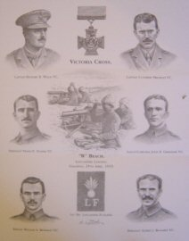 L14AP.  Victoria Cross Winners, W Beach Lancashire Landing.  Gallipoli, 25th April 1915 by S Liptrot. <p>Individuals shown: Captain Richard R Willis, Captain Cuthbert Bromley, Sergeant Frank E Stubbs, Lance Corporal John E Grimshaw, Private William S Keneally and Sergeant Alfred J Richards. <b><p> Limited edition of 50 artists proofs. <p>Image size 11 inches x 14 inches (28cm x 36cm)