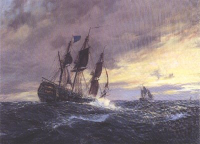 Vanguard in Heavy Weather off Toulon, 19th May 1798 by Geoff Hunt.