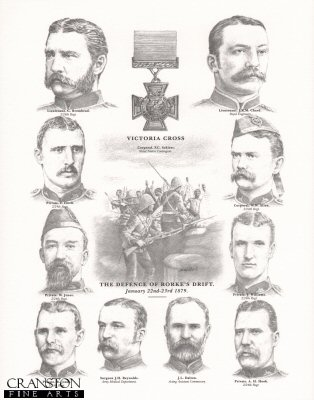 L4. Victoria Cross Winners at the Defence of Rorkes Drift, January 22nd - 23rd 1879 by Stuart Liptrot <p> Individuals shown: Lieutenant  G. Bromhead, Lieutenant J.R.M. Chard, Private F. Hitch, Corporal W.W. Allen, Private W. Jones, Private J. Williams, Private R. Jones, Surgeon J.H. Reynolds, J.L Dalton and Private A. Hook. <b><p> Open edition print. <p> Image size 112 x 14 inches (28cm x 36cm)