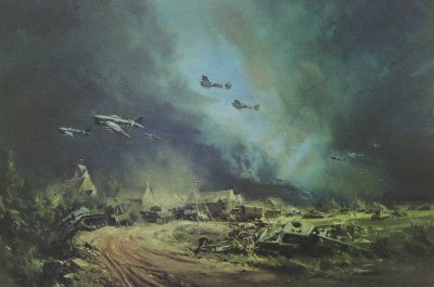 Rocket Firing Typhoons at the Falaise Gap - Normandy 1944 by Frank Wootton.