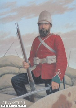 L6. Colour Sergeant Frank Bourne DCM by Stuart Liptrot <p> Colour-Sergeant Frank Bourne of the 24th Regiment at the Defence of Rorkes Drift during the Zulu attack on Rorkes Drift. Colour Sergeant Frank Bourne, 2nd battalion South Wales Borderers. Frank Bourne was born on the 27th April 1854  in Balcombe Sussex.  When Bourne was 18 he joined the 24th Regiment in 1872, being promoted to Corporal in 1875 and Sergeant in 1878.  Sergeant Bourne was promoted to Colour Sergeant soon after the rgeiment arrived in Natal.  Colour Sgt bourne was part of B company whose job was to guard the hospital at Rorkes Drift.  Colour Sgt Bourne played a major role in keeping the defending troops effective.  Colour Sgt Bourne was awarded the Distinguished Conduct Medal for his role in the defence and it is surprising that he was not awarded a Victoria Cross as 11 were awarded for the defence.  Col Sgt Bourne retired form the army in 1907 but  joined again for WW1, serving in Dublin.  He was the last survivor of Rorkes Drift  passing away  at the age of 91 on the 8th May 1945 by coincidence being VE day.<b><p>  Signed edition. <p> Image size 8 inches x 12 inches (20cm x 31cm)