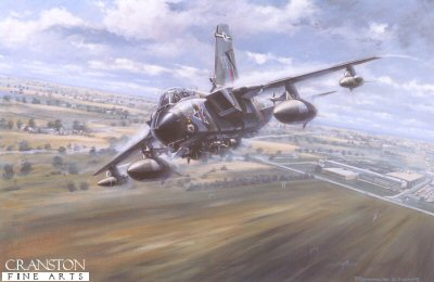 LR2.  On Track by Ronald Wong. <p>A Tornado GR1 of 12 squadron RAF, carrying a comprehensive array of weapons and defence measures streaks low on a training sortie. <b><p> Signed limited edition of 750 prints. <p> Image size 14 inches x 22 inches (36cm x 56cm)
