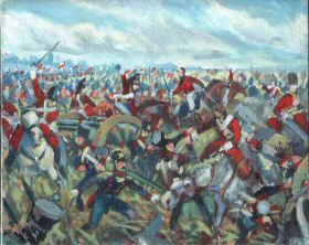 Original Oil Study of the Union Brigade painting by Mark Churms. (P)