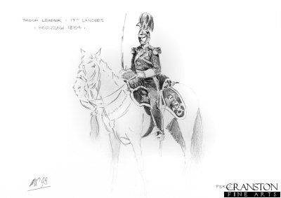 Troop Leader of the 17th Lancers, Hounslow 1854 by Mark Churms. (P)