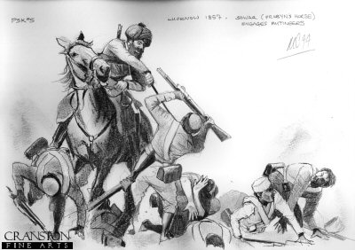 Sowar of Probyns Horse Engages Mutineers at Lucknow, 1857 by Mark Churms. (P)