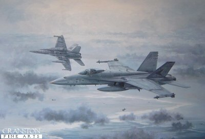 MR48. Top Cover by Michael Rondot. <p>With Top Cover, Michael Rondot portrays a pilots eye view of the speed and excitement of modern high-tech aerial warfare. High over a panorama of broken clouds, a pair of F/A-18C Hornets from VFA-81 Sunliners dive onto a group of F-16s simulating an attack on a formation of low flying A-7 Corsairs far below. The low-flying A-7s are in deep trouble, having been bounced by the F-16s, and will evade as hard as they can to shake off their opponents. For the F/A-18 Hornet pilots the priority is to kill the F-16s before they can threaten the A-7s. The Fights on! You could easily be forgiven for believing that US Navy and Marine Corps aviators enjoy an unfair advantage in life. They fly the finest aircraft around, in the most demanding and exciting roles, and they get to practice their art in some of the most beautiful and exotic parts of the world, basking in the glamour and mystique of US Naval Aviation. The reality is more down to earth. Flying the F/A-18 Hornet in both the air-defence and the ground-attack role is hard, challenging work. Pilots from the attack community have to learn the skills of air-to-air fighting, and air defenders have to learn the art of putting bombs and bullets onto a pinpoint target from a first-pass attack in bad weather. It is an uncompromising and unforgiving environment, with no room for bullshit. <p><b>Last 60 copies of this sold out edition. </b><b><p> Signed limited edition of 500 prints.<p>  Paper size 28 inches x 20 inches (71cm x 51cm)