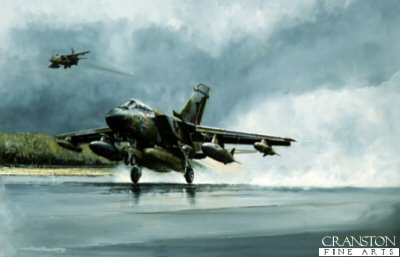 MR50.  Panavia Tornado GR1 by Michael Rondot. <p>A 14 Squadron Tornado GR1 based at RAF Bruggen Germany carrying a full JP233 war fit roars into the sky as a Jaguar overshoots to the right of the runway to go around to land.  Of all the television and press images of the Gulf War, few were as dramatic as the pictures of the first waves of aircraft taking off to attack Iraqi airfields under cover of darkness. Yet when this print of a Tornado taking off carrying a full warload of JP 233 airfield denial weapons was published, such a scenario was unthinkable. The events of 1991 are foretold in this powerful portrayal of a Tornado taking off in a blast of steam from a rain drenched runway, with a Jaguar strike/attack aircraft breaking into the circuit in the background. <p><b>We have the last 6 copies if this sold out edition.</b><b><p>Signed limited edition of 450 prints. <p> Paper size 36 inches x 22 inches (91cm x 56cm)