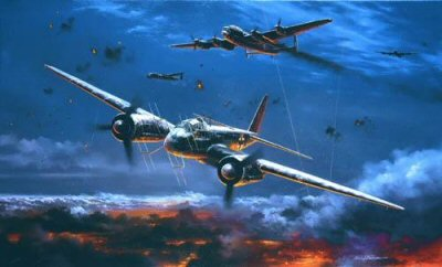 NT319. Moonlight Hunter by Nicolas Trudgian. <p> As the air war raged over Berlin and other German cities, night-fighter units such as NJG100, the original Eastern front night fighter Geschwader, were redeployed nearer home in the final desperate defence of Germany.  By late 1944 the Luftwaffes night fighting aircraft were being flown by experienced crews using sophisticated electronic equipment and, though fighting a losing battle, had become the scourge of the RAFs night raiders.  A Junkers Ju88 G-6, piloted by major Paul Zorner, Gruppenkommandeur III./NJG100, based at Stubendorf, intercepts and badly damages a four-engined Lancaster of R.A.F. Bomber Command over Germany in late 1944. Shedding debris and trailing flames, there may just be time for the crew to bale out before the mightly bomber falls away into the dark abyss. With the aid of his FuG220 and upward firing Schrage Musik armament, Zorner has stalked his prey, and attacked from beneath unseen.  The crew of this Lancaster didnt stand a chance, and with the moonlight briefly glinting on his aircraft, the accomplished Ju88 pilot slips away into the darkness of the night.<b><p> Signed by <a href=signatures.php?Signature=240>Major Paul Zorner</a>, in addition to the artist.  <p> Signed limited edition of 450 prints. <p> Paper size 25 inches x 19 inches (64cm x 48cm)