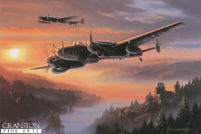 NT321. Night Hunters of the Reich by Nicolas Trudgian. <p> The German High Command entered World War II with the notion that the war would be quickly won, and certainly without the need to fight at night.  The RAF changed all that when Bomber Command, having suffered appalling losses in daylight, turned to attacking under the cloak of darkness.  By mid-1940 the Luftwaffe was forced to hurriedly form its first night fighter wing utilising the Messerschmitt Bf110.  Without specialised equipment, initially Luftwaffe pilots relied on visual acquisition, detecting enemy aircraft with the aid of searchlights.  To combat intensifying RAF night attacks, new electronic methods of navigation and detection were developed, and by the end on 1942 the German night fighter force had almost 400 aircraft contesting the night skies.  Almost 1300 British aircraft were destroyed in that year alone.The Bf110G-4 of 47-night victory pilot Oberleutnant Martin Drewes at dusk in March 1944, heading out to intercept in-bound British four-engined bombers over north west Germany. Equipped with the latest FuG220 and 218 radars, the experienced crew will lie in wait, carefully choose their prey, stalk and close for the kill. The deadly game of hide and seek is about to begin. <b><p> Signed by Oberst Wolfgang Falck (deceased), in addition to the artist. <p> Signed limited edition of 450 prints. <p> Paper size 24 inches x 19 inches (61cm x 48cm)