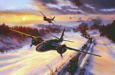 NT322.  Raising Havoc in the Ardennes by Nicolas Trudgian. <p> It is January 1945, and its cold. The German advance in the Ardennes is nearly over, but the Panzer Army is desperately throwing more troops into the breach who try to keep their momentum going in The Battle of the Bulge. Tasked with preventing German reinforcements from reaching the battle front, the Ninth Air Force launched a series of low-level attacks on enemy ground forces as they wind their way through the Ardennes. Flying conditions were not easy, cloud bases were low, and snow was in the air. Nicolas Trudgians new painting recreates an attack on January 23, 1945, by Douglas A-20 Havocs of the 410th Bomb Group. Locating an enemy convoy in open space near the German town of Blankenheim, the Havoc pilots make a swift attack diving from 8000 feet, catching the German force by surprise: Hurtling down the line of vehicles at 320mph they release their parafrag bombs from 300 feet then, dropping just above the roofs of the army trucks continue down the column blasting everything in sight with their forward-firing .50mm caliber machine guns. In the space of a few minutes the attack is completed and the convoy decimated.  With ammunition expended and fuel running low the A-20 Havocs climb out of the zone and head for base in France. A 20mm shell has hit the lead aircraft wounding the Bombardier/Navigator Gordon Jones, which will seriously hamper their return through a blizzard, but all aircraft make it safely home - the lead aircraft, on landing, counting over 100 holes of various sizes. For their part in leading the successful attack the Lead Pilot Russell Fellers and Bombardier/Navigator Gordon G. Jones received the Silver Star.<br><br><b>Published 2001.<br><br>Signed by A-20 Havoc combat aircrews, including two Silver Star recipients, from World War Two.</b><p><b>Less than 20 copies available.</b><b><p> Signed by Major Howard B Aines, <br>Staff Sergeant Donald Bjornson, <br>Captain Jerome M Coe, <br>Captain Narval F Davis, <br>Staff Sergeant Karl Haeuser, <br>Captain John L Minech, <br>Major James R Nicols <br>and <br>Lt Colonel J Duane Wethe, in addition to the artist. <p> Collectors edition of 500 prints.  <p>26 inches x 21 inches (64cm x 53cm)