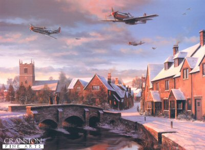 NT5.  Warm Winter&#39;s Welcome by Nicolas Trudgian. <p>As the Autumn of 1944 turned to winter, the USAAF Eighth Air Force bombers were penetrating ever deeper into enemy territory, attacking distant targets in central and south-east Germany. Large formations of seven or eight hundred bombers, escorted by as many fighters, darkened the skies over the Reich. Central to the massive daylight raids was the long-range capabilities of the P-51 Mustang, the most versatile fighter of the war.  Despite incessant pounding from the air, the Luftwaffe were putting up determined resistance, particularly in the south, often sending up several hundred fighters to meet the challenge. Huge aerial battles were fought between the opposing groups of fighters, and though the Allied pilots usually gained the upper hand in these encounters, the air fighting was prolonged and furious.  Typical of those encounters, on a single mission in November the Allied estimate of Luftwaffe sorties flown against them exceeded 750, but often the German fighters were handicapped by poor direction from the ground, hampering their effectiveness - on the 27th, several Gruppen were vectored directly towards the P-51s of the 357th and 353rd Groups believing them to be in-coming bombers. They paid the price, the Leiston based pilots of the 357th bagging 30 enemy fighters before they knew what hit them.  Successful as they were, the long-range escort missions flown by the P-51s were both hazardous and grueling. The weather, particularly in winter, was often appalling, and even an experienced pilot could become disoriented after hectic combat, and lost in the far reaches of the Reich.  The return to base in England after combat over distant enemy territory was always exhilarating, and the pilots often hedgehopped gleefully over towns and villages on their way home after crossing the English coast. Nicolas Trudgians painting depicts such a scene, with P-51 Mustangs of the 357th Fighter Group racing over a typical English village as they head for Leiston and home. As the evening light fades, the peace and tranquillity of the snowy village, broken momentarily by the roar of Merlin engines, seems to bid the returning fighter boys a warm winters welcome. <br><br><b>Published 2000.<br><br>Signed by four P-51 Mustang pilots who flew with the 357th Fighter Group in combat during World War II.</b><p><b>Less than 12 copies remaining.<b><p>Signed by Colonel C E Bud Anderson, <br>Captain Robert P Winks (deceased), <br>First Lieutenant John Skara <br>and <br>First Lieutenant Raymond T Conlin (deceased).<p>Signed limited edition of 500 prints. <p> Image size 23 inches x 17 inches (58cm x 43cm)