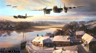 NT6. Mosquitos at Dusk by Nicolas Trudgian. <p> With their twin Merlins singing at full power, Mk FBV1 Mosquitos of 464 Squadron RAAF present a menacing picture as they set out on a precision low level mission, their streamlined, shark-like shapes silhouetted against the evening glow. Below, the tranquillity of a snow covered English coastal village is briefly disturbed as the Mosquito crews head into the night. <b><p> Signed by Air Commodore John Ellacombe (deceased), <br>Air Commodore E B Ted Sismore<br>and<br>Flight Lieutenant Douglas Hadland, in addition to the artist. <p> Signed limited edition of 350 prints. <p>Image size 28 inches x 16 inches (72cm x 41cm)  Paper size 36 inces x 24 inches (91cm x 61cm)