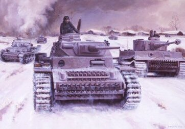 P1421. The Panzer Count by David Pentland. <p> Generalleutnant Hyazinth Graf Strachwitz von Gross-Zeuche und Camminetz, (nicknamed The Panzer Count), in the vanguard of Panzer Regiment Gross Deutchlands thrust towards Belogrod. One of the most spectacular armour commanders of all time he led his mixed force of PzIVs and Tiger 1s on a series of successful battles to form a northern pincer around Kharkov, vital to the retaking of the city. For his exploits he was awarded the swords to his Knights Cross. <b><p>Postcard<p> Postcard size 6 inches x 4 inches (15cm x 10cm)