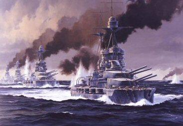 HMS Barham leads the 5th Battle Squadon at Jutland by Anthony Saunders. (PC)