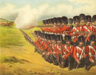 The Royal Scots Fusiliers Formed in a Rallying Square to Resist Cavalry by Richard Simkin.