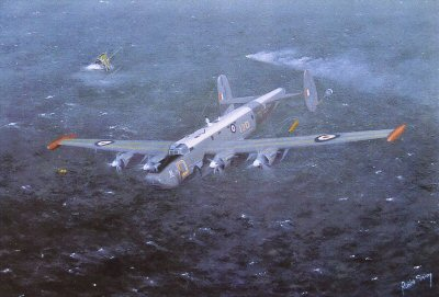 RS6.  Shackleton MR3, 120 Sqdn, Kinloss by Robin Smith. <p>One of the true workhorses of the RAF is indeed the Shackleton. A commission for an ex Shackleton pilot, thet print depicts a typical air sea rescue mission. Having dropped a smoke flare, the aircraft flies down wind / cross wind of the stricken vessel. Lindholme gear is then released which consists of a 9 man inflatable dinghy connected by two floating ropes several hundred feet long with survival packs on the ends. The survivors then wind drift into the ropes and haul in the gear.<b><p>Signed by 3 veteran pilots of 120 Sqdn, Sqn. Ldr. Dick Woodhead, Sqn. Ldr. Bryn Lewis, and Sqn. Ldr. Robin Chandler.<p>Limited edition of 500 prints.  <p> Image size 19 inches x 12 inches (48cm x 31cm)
