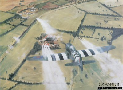RS7.  The Dreaded Salvo by Robin Smith. <p>Hawker Typhoon of 181 Sqdn, 2nd tactical airforce. The Dreaded Salvo was painted to celebrate the 60th anniversary of D-Day. Preparing the ground for the eventual D-Day landings,aircraft including the Hawker Typhoon were given the freedom to scour areas for evidence of enemy activity and neutralise there effect employing the terrifying power of the eight underwing rockets. Turning a massive 14 diameter 4 bladed prop. the Napier Sabre engine was huge, but unfortunately suffered mechanical problems that blighted its early acceptance.<b><p>Signed by 2 ex-Typhoon pilots, <br><a href=signatures.php?Signature=1347>Pip Phillips</a> <br>and <br><a href=signatures.php?Signature=2009>Ken Scott</a>.<p> Limited edition of 500 prints.  <p>Image size 24 inches x 18 inches (61cm x 46cm)