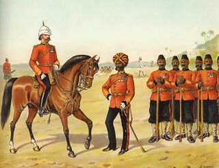 The Queens Own Madras Sappers and Miners, Review Order by Richard Simkin (P)