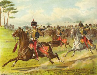 The 11th Hussars (Prince Alberts Own) at a Field Day 1851by Richard Simkin.