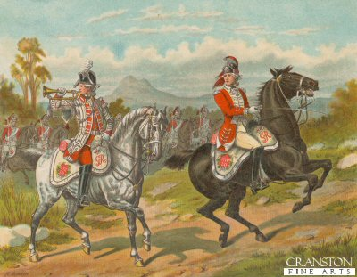The 17th Light Dragoons (Now Lancers) on Service in America 1775 by Richard Simkin. (B)