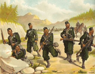 The 3rd Goorkhas Skirmishing by Richard Simkin (P)