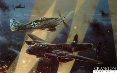 RT304. No Turning Back by Robert Taylor. <p> A Lancaster of No. 61 Squadron, RAF, piloted by Flt. Lt. Bill Reid, under attack from a German Fw190 en route to Dusseldorf on the night of November 3rd, 1943. Already injured in a previous attack, Bill Reid was again wounded but pressed on for another 50 minutes to bomb the target, then fly his badly damaged aircraft on the long journey home. The courage and devotion to duty that earned Bill Reid the Victoria Cross, was a hallmark of RAF bomber crews throughout their long six year campaign. <b><p>Signed by Flight Lieutenant Bill Reid VC (deceased), <br>Air Commodore Wilf Burnett DSO OBE DFC AFC (deceased), <br>Air Marshal Sir Ivor Broom KCB CBE DSO DFC AFC (deceased) <br>and <br>Squadron Leader Tony Iveson DFC (deceased). <p> Aircrew edition.  Signed limited edition of 600 prints. <p> Paper size 32 inches x 24 inches (81cm x 61cm)
