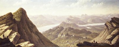 SC30. North Western View From Ben Lomond by John Knox. <b><p> Open edition print. <p> Image size 24 inches x 9.5 inches (61cm x 24cm)