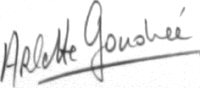 The signature of Madame Arlette Gondree-Pritchett