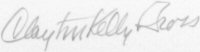 The signature of Captian Clayton Gross