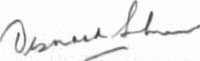 The signature of Group Captain Desmond Sheen DFC* (deceased)