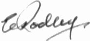 The signature of Wing Commander Ernest Rodley DSO DFC AFC AE