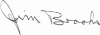 The signature of Captain Jim Brooks