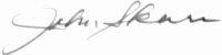 The signature of First Lieutenant John Skara