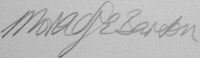 The signature of Morag Barton