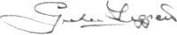 The signature of Squadron Leader P G Leggett