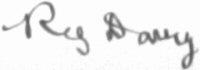 The signature of Reg Davie