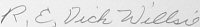 The signature of Colonel Richard Willsie (deceased)