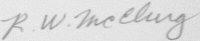 The signature of Lieutenant Colonel Robert W McClurg (deceased)