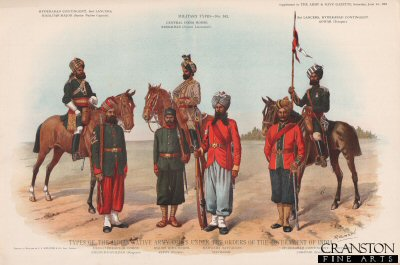 Types of the Indian Native Army.  Corps Under the Orders of the Government of India by Richard Simkin