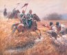 The Battle of Ulundi took place at the Zulu capital of Ulundi on 4th July 1879. Ulundi became the last battle to be fought during the Zulu war and the British victory finally broke the military power of the Zulu Nation. The battle began at 6 a.m. when Buller led out an advance guard of mounted troops and South African irregulars. The British force comprised of five companies of the 80th regiment in square in four ranks, with two Gatling Guns in the centres, two 9-pounders on the left flank and two 7-pounders on the right. The 90th Light Infantry with four companies of the 94th regiment made up the left face with two more 7-pounders. On the right face were the 1st Battalion of the 13th Light Infantry, four companies of the 58th Regiment, two 7-pounders and two 9-pounders. The rear face was composed of two companies of the 94th Regiment and two companies of the 2nd Battalion of the 21st Regiment. In the middle of the square were headquarters staff, No. 5 company of the Royal Engineers whhich was led by Lt John Chard who had commanded the troops at Rorkes Drift, the 2nd Native Natal Contingent, fifty wagons and carts with reserve ammunition and hospital wagons. Bullers horsemen protected the front and both flanks of the square. A rearguard of two squadrons of the 17th Lancers and a troop of Natal Native Horse followed. In total the British force stood at just over 5300 against the Zulu warrior regiments in total over 15000. The Zulu warriors charged again and again at the square but with the strong British firepower of tifle and gatling gun, they could not get close. As the Zulu warriors strength weakened, Lord Chelmsford ordered the cavalry to mount, and the 17th Lancers and the 1st Kings Dragoon Guards along with colonial cavalry were ordered to charge the now fleeing Zulus. The Zulus fled towards the high ground with the cavalry in pursuit. The Lancers were checked at the Mbilane stream by the fire of a concealed party of Zulus, causing a number casualties before th