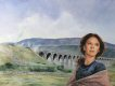 CC205. Female portrait with Railway viaduct by Chris Collingwood.